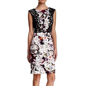 ADRIANNA PAPELL FLORAL LACE SCUBA DRESS